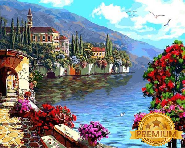 Рисование по номерам 40×50 см. Babylon Premium Цветущая набережная