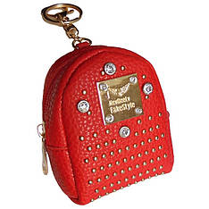 Брелок мини-рюкзачок со стразами красный