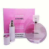 Подарочный набор Chanel Chance Eau Tendre (парфюм 100 ml и атомайзер 7,5 ml), фото 1