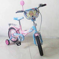 """Велосипед TILLY """"Чарівниця""""T-21426 pink + blue, Детский велосипед 14 дюймов,Велосипед с страховочными колёсами"""