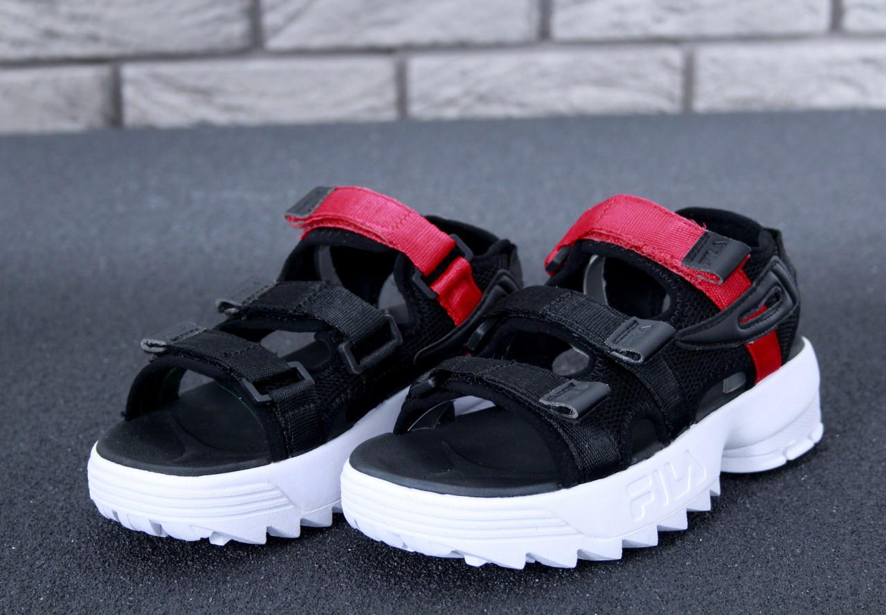 FILA Disruptor Sandals black\white/red, Сандали Фила. ТОП Реплика ААА класса.