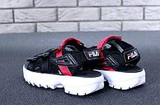 FILA Disruptor Sandals black\white/red, Сандали Фила. ТОП Реплика ААА класса., фото 3