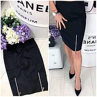 Классическая юбка с молнией 42-48 р чёрный, фото 1