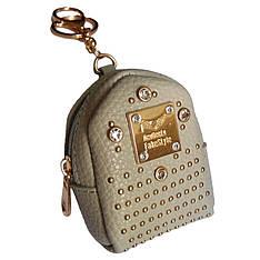 Брелок мини-рюкзачок со стразами серый