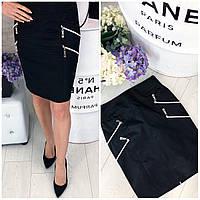Классическая юбка с молниями 42-48 р чёрный, фото 1