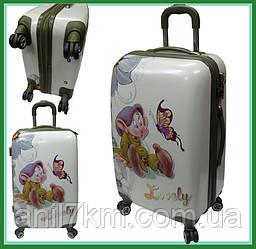 Детский средний пластиковый чемодан на четырёх колёсах  гномик