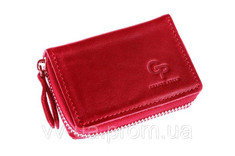 Визитница Grande Pelle, на молнии, красный, кожа (315660)
