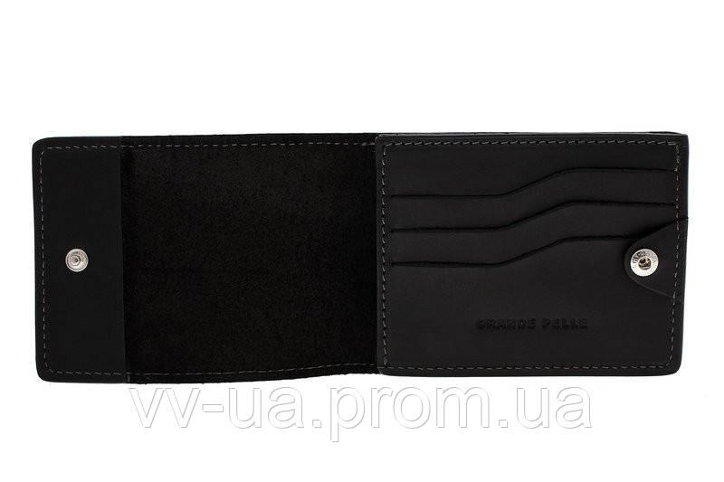 Картхолдер Grande Pelle, на кнопке, черный, кожа (308110)