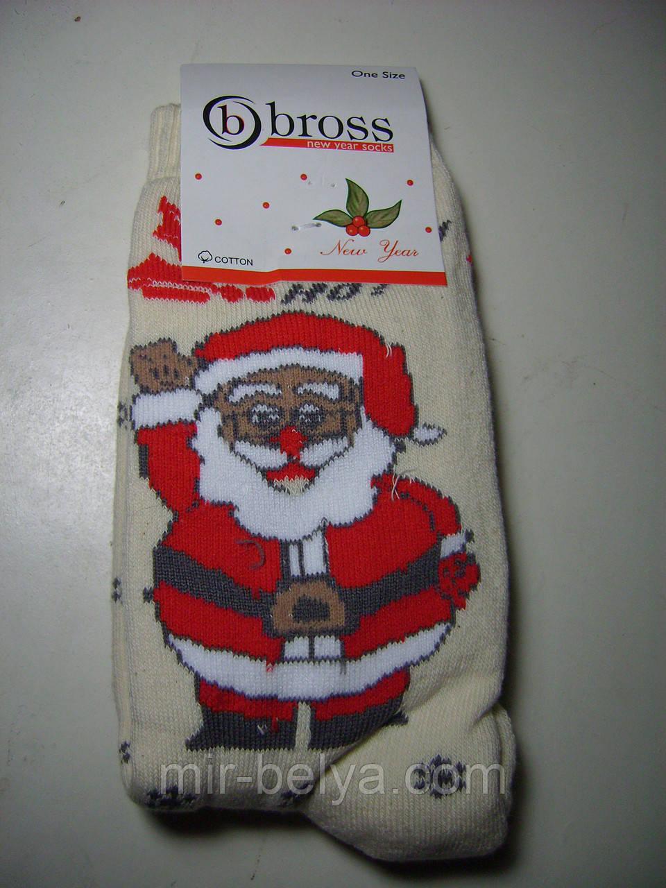 Женские теплые новогодние носки BROSS Санта Клаус