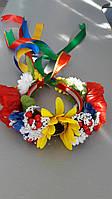 Венок украинский на голову из лент и тканевых цветов