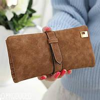 Женский кошелек из нубука FRIEND большой рыжий, фото 1