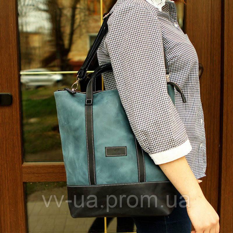 Рюкзак-сумка трансформер женский Grande Pelle, синий и голубой, кожа