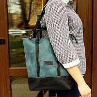 Рюкзак-сумка трансформер женский Grande Pelle, синий и голубой