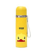 Термос детский SUNROZ Животные Утенок с чашкой и шнурком Желтый 350 мл (SUN0023)