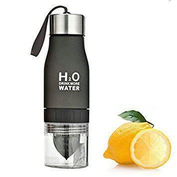 Бутылка для воды и напитков H2O с цитрусовой соковыжималкой 650 мл Черная (SUN0034)