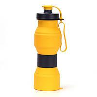 Складная бутылка для воды SUNROZ Foldable Bottle силиконовая портативная Бутылочка 800 мл Желтый (SUN1087), фото 1