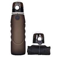Складная бутылка для воды SUNROZ Foldable Bottle силиконовая портативная Бутылочка 1Л Черный (SUN1089)