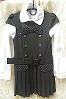 Детская школьная форма - сарафан и блуза, цвет - черный, 100% хлопок, 122 см., 390 гр.