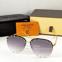 Женские солнцезащитные очки Louis Vuitton Aviator металическая оправа под золото Луи Витон люкс реплика, фото 1