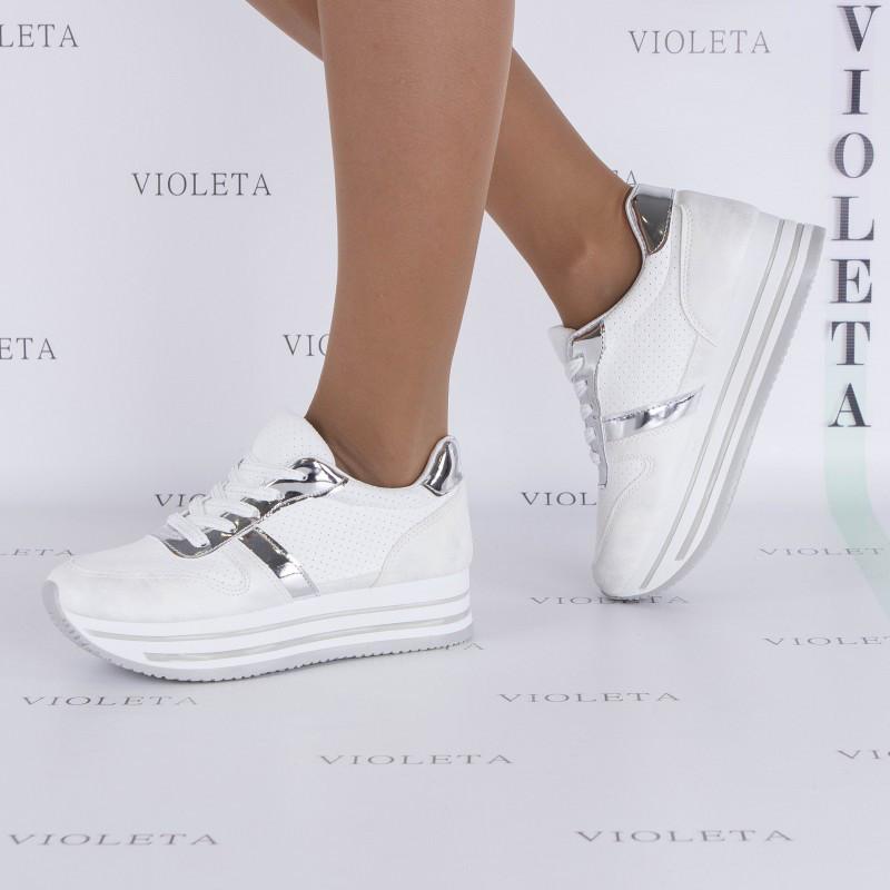 Серебристо-белые кроссовки на платформе   продажа f550bc7929e22