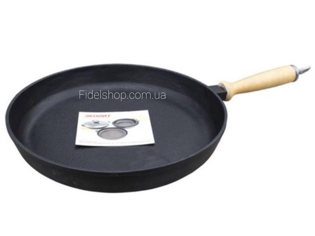 Сковорода чугунная 200х40 дер. ручка, фото 1