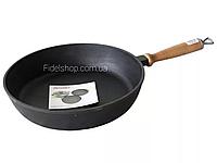 Сковорода чугунная сотейник 240х60  дер. ручка, фото 1