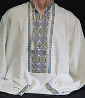 Льняная рубашка с вышивкой для мужчин, ручная работа, 42-56 р-ры, 850/750 (цена за 1 шт. + 100 гр.), фото 1