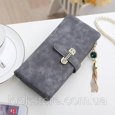 Женский кошелек из нубука CRYSTAL большой с подвеской серый