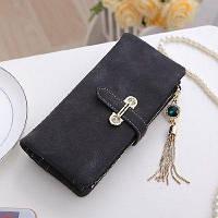 Женский кошелек из нубука CRYSTAL большой с подвеской черный, фото 1