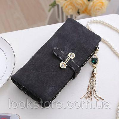 Женский кошелек из нубука CRYSTAL большой с подвеской черный