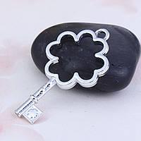 """Подвеска """" Ключ """", 45 mm x 24 mm, Рамка для заливки эпоксидной смолы, Цвет: серебро"""