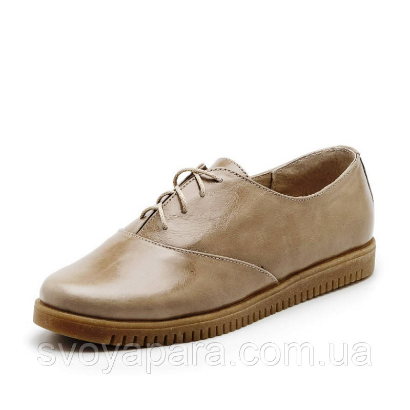 Туфли женские бежевые (оливковые) кожаные на низком ходу (02103)