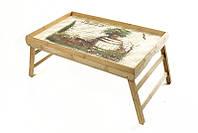 "Бамбуковый столик для завтрака BST 490149 бежевый 52х32см. ""Бочка"""
