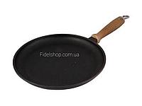 Сковорода чугунная для блинов 260*20 мм. с деревянной ручкой