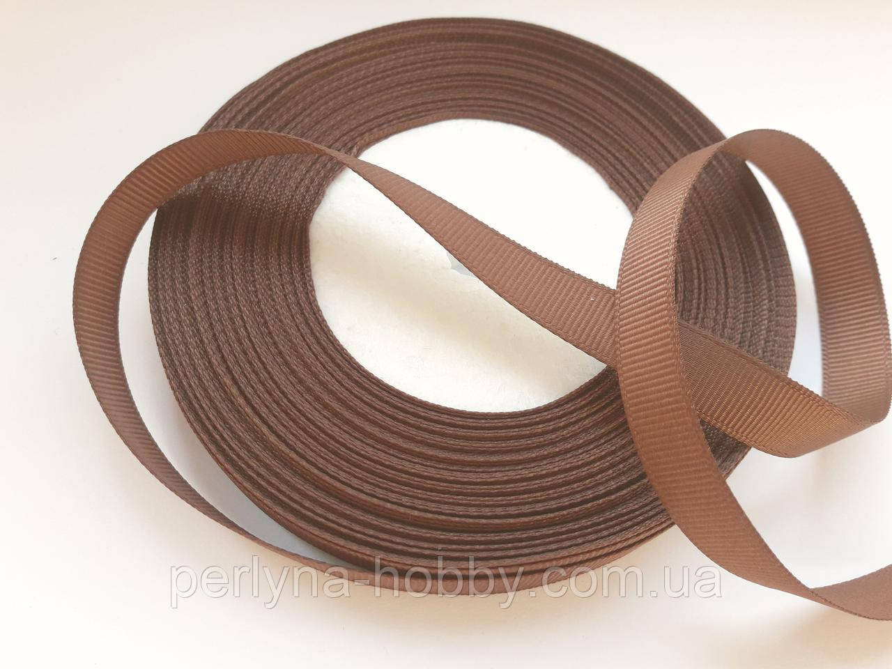 Стрічка репсова 13 мм коричнева, на метраж, ціна за 1 метр