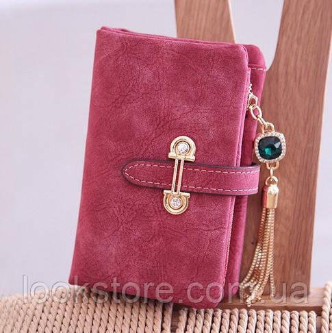 Женский кошелек из нубука CRYSTAL маленький с подвеской красный