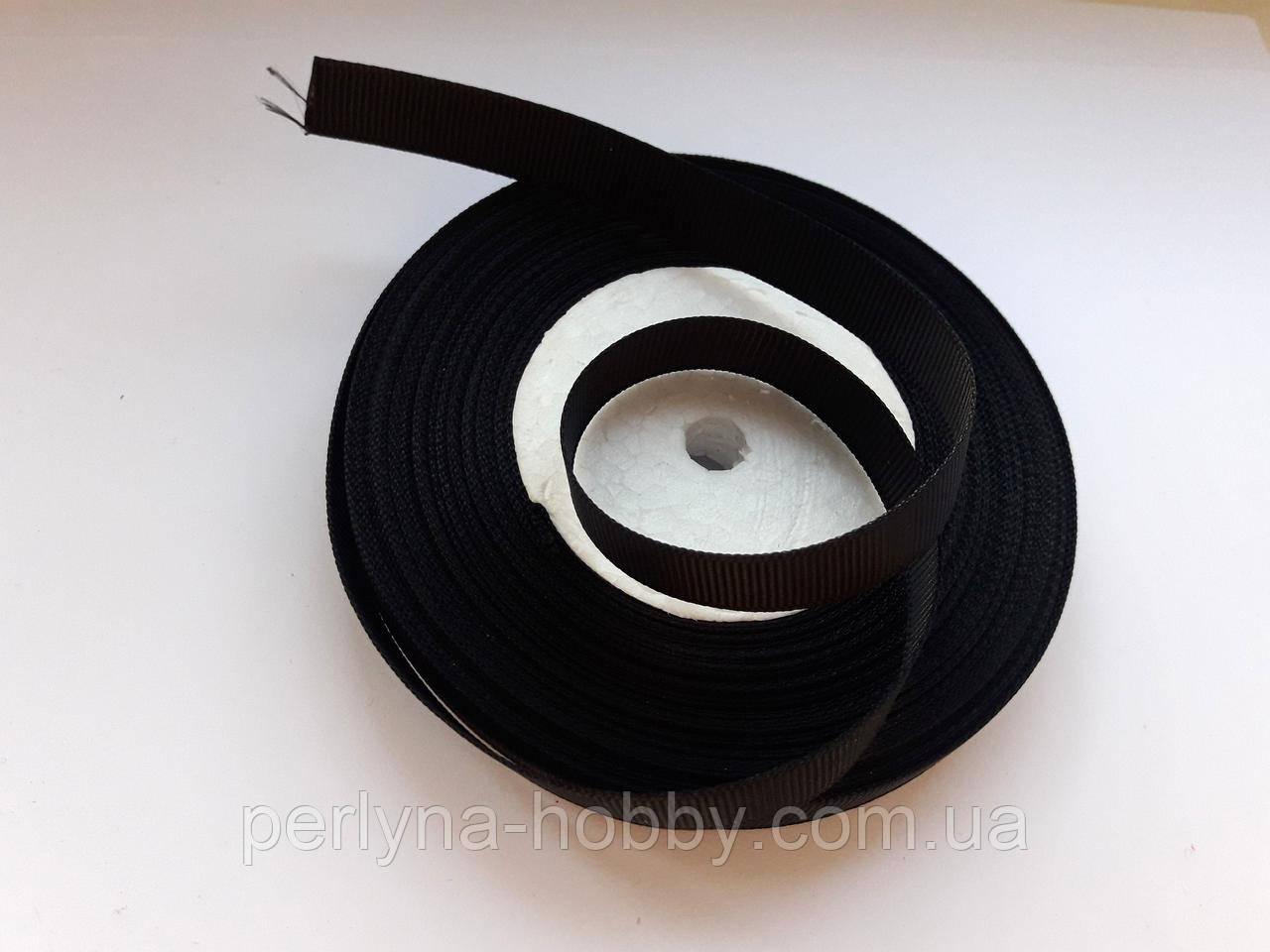 Стрічка репсова 13 мм чорна, на метраж, ціна за 1 метр