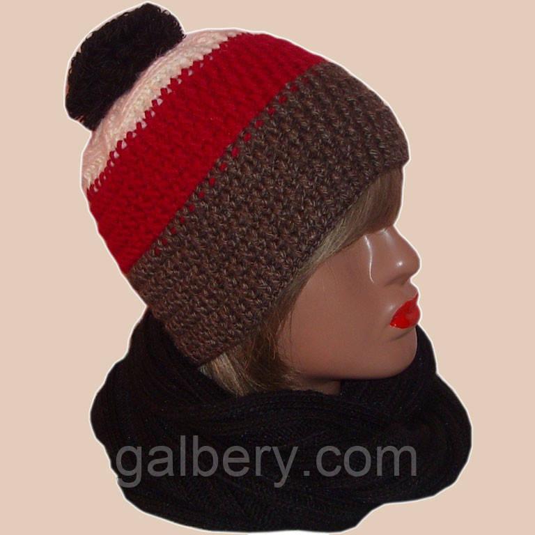 Женская вязаная шапка на подкладке комбинированной расцветки и шарф-снуд