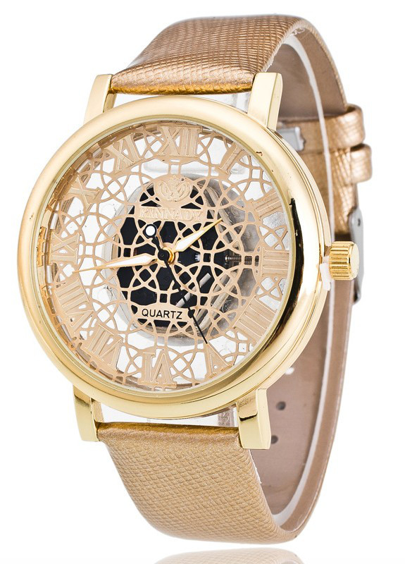 Женские часы Кружево Скелетон золотистые