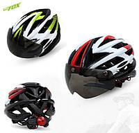 Велосипедный шлем-очки 2-в-1 BATFOX F619 со съёмной солнцезащитной линзой и встроенной мигалкой