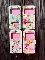 """Чехол книжка с окошком """"Flowers"""" для Samsung A530 Galaxy A8 (2018) (4 цвета)"""