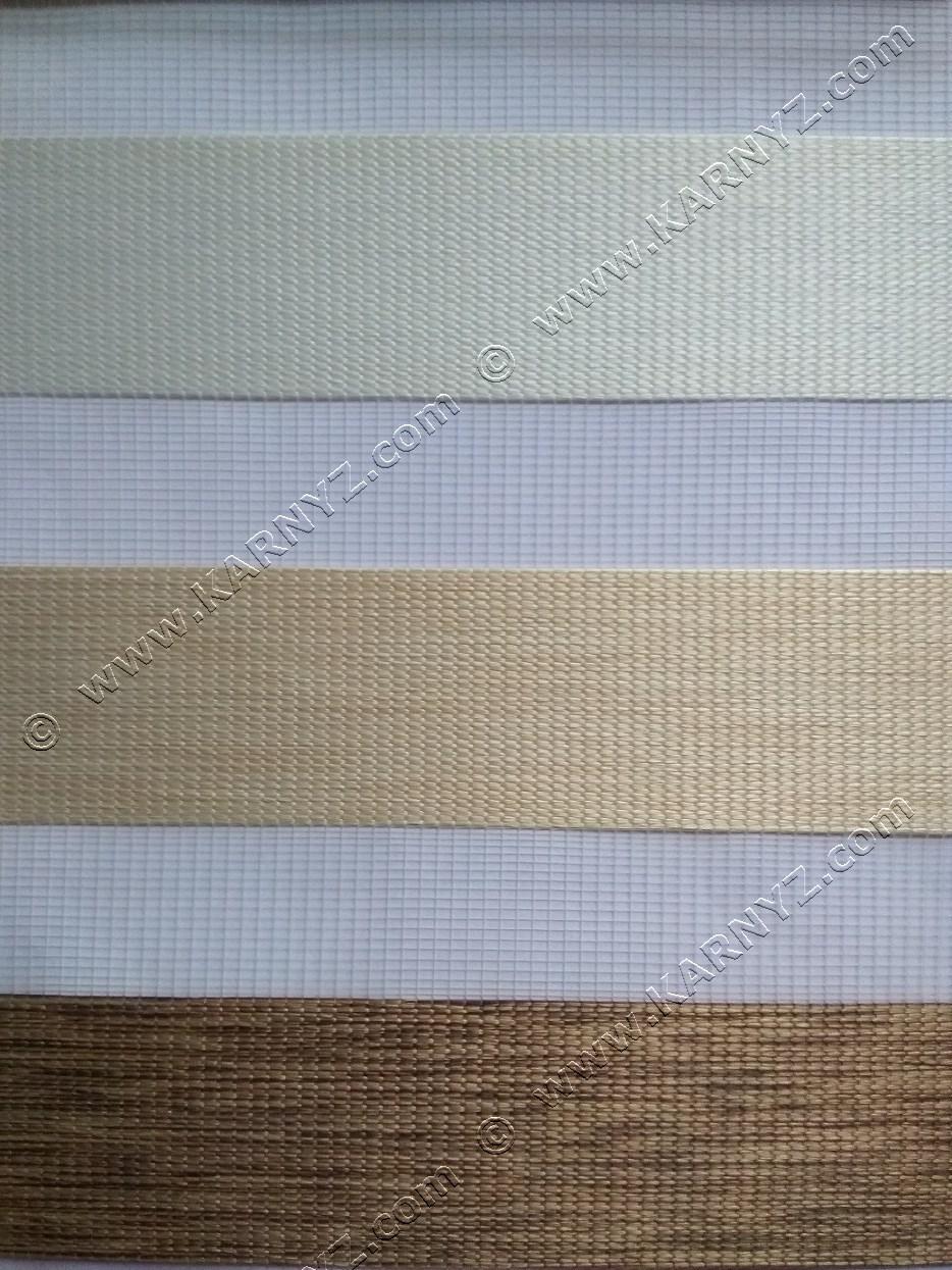 Рулонные шторы День-Ночь Натурал трио B-282 белый/бежевый/коричневый