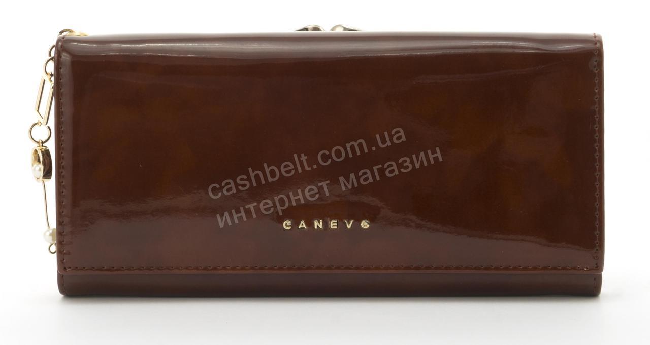 Стильный лаковый многофункциональный женский прочный кошелек CANEVOart. J6210 темно коричневый