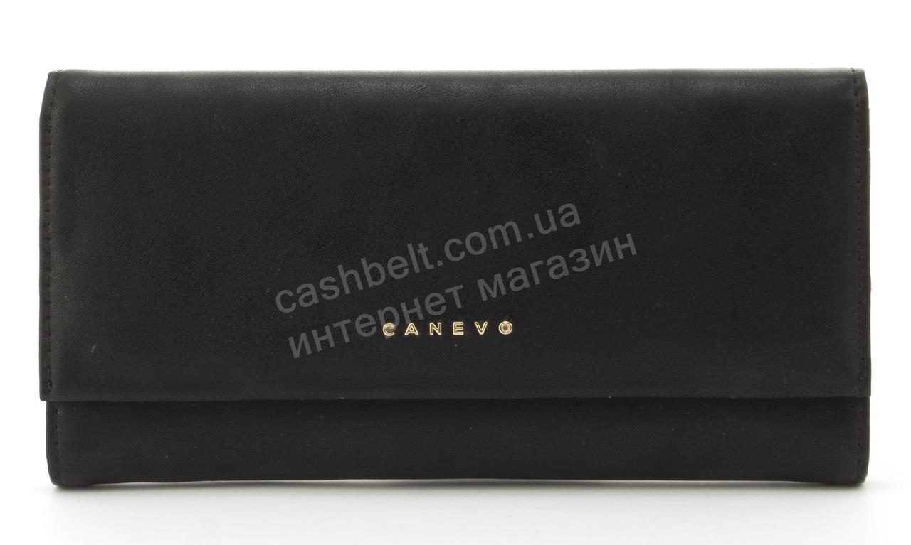 Стильный многофункциональный женский прочный кошелек из эко кожиCANEVOart. J1681 черный