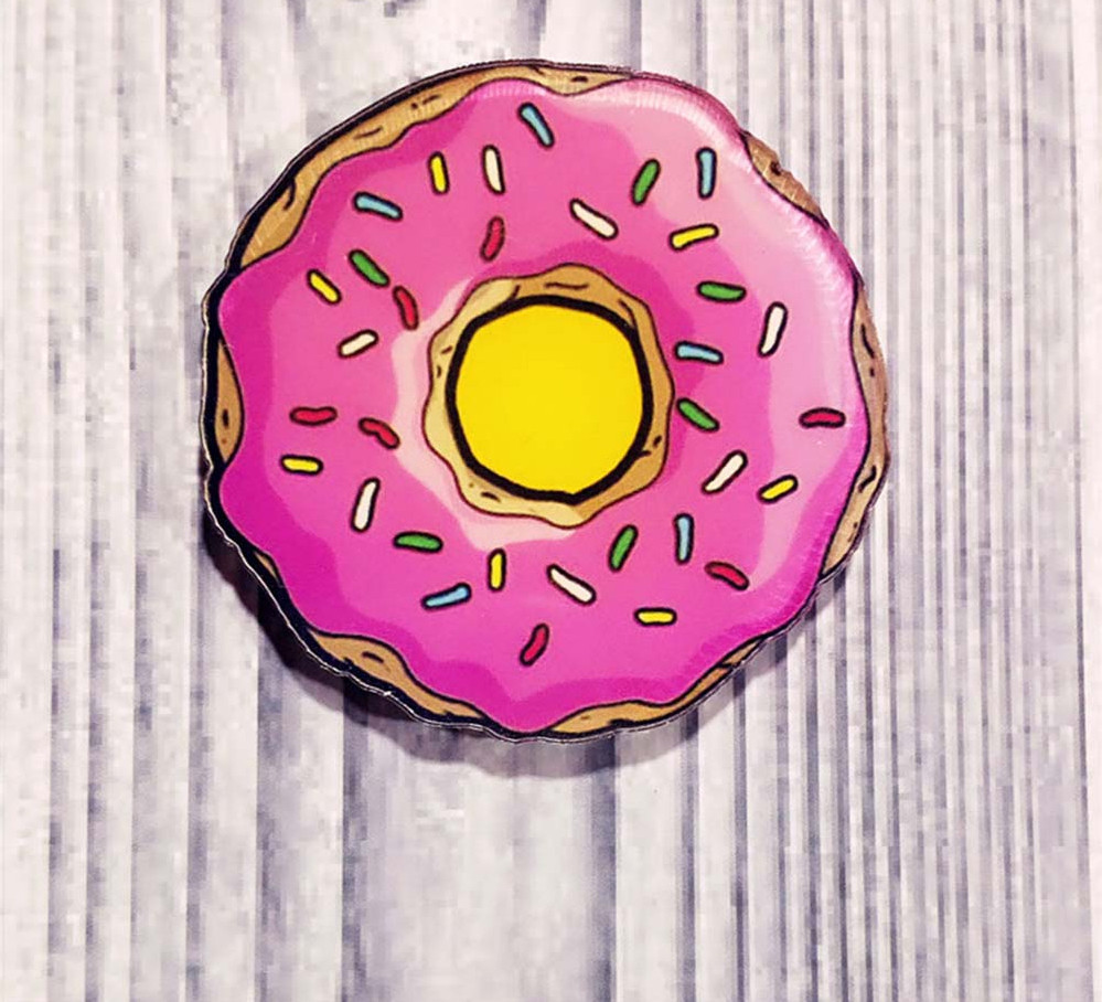 Значок-брошка Розовый Пончик