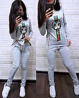 """Костюм со змейками по бокам """"Кошка GUCCI"""", кофта с длинным рукавом и брюки, размеры S M L XL 2XL"""