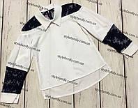 Блуза для девочки белая с темно-синим кружевом оптом