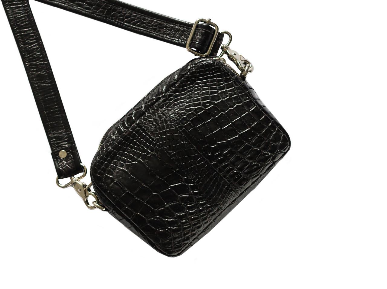 Сумка из кожи крокодила Черная (cb02)