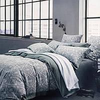 Двуспальное (евро) постельное белье 200х220 Лен жаккард Prestij Textile 30353