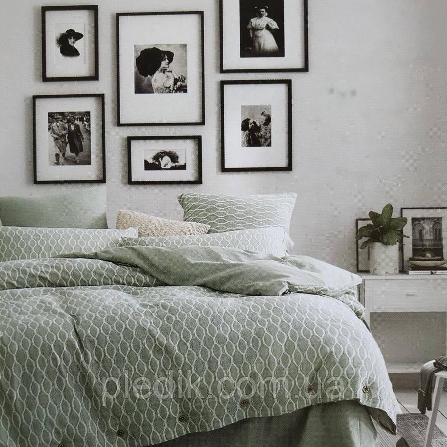 Двоспальне євро постільна білизна 200х220 Льон жаккард Prestij Textile 30212